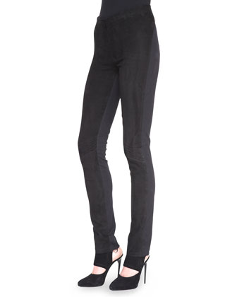 Straight-Leg Pants with Suede Front
