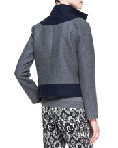 Colorblock Felt Coat with Zip-Off Hem, Charcoal/Navy