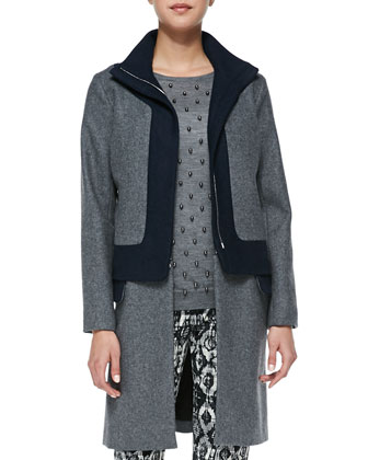 Colorblock Felt Coat with Zip-Off Hem, Faux Pearl-Embroidered Top & ...