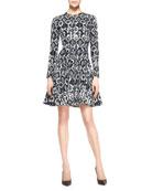 Reversible Long-Sleeve Geometric Stretch Dress, Black/Ivory