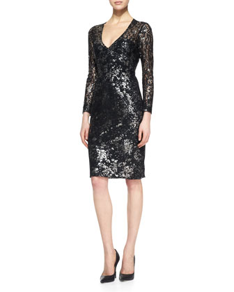 Silver-Dusted Lace Dress, Black/Metallic