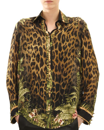 Long-Sleeve Leopard & Jungle Print Blouse, Khaki/Green/Brown