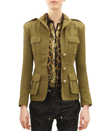Three-Button Four-Pocket Military Jacket, Khaki Green