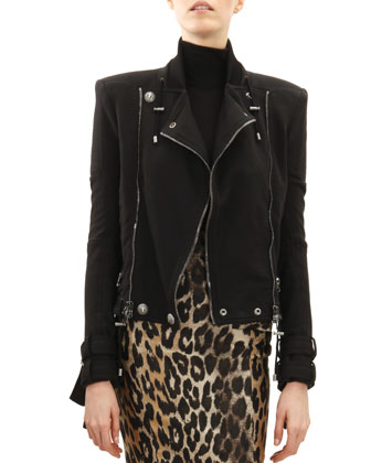 Cotton Classic Motorcycle Jacket, Button-Shoulder Sweater & Leopard ...