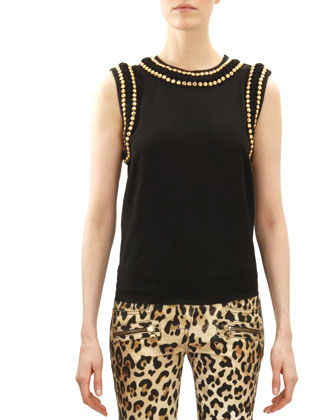 Sleeveless Double-Row Golden Stud-Trim Top, Noir (Black)