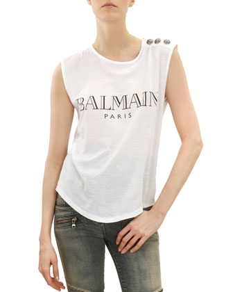 Sleeveless Logo T-Shirt with Shoulder Buttons, Black/White