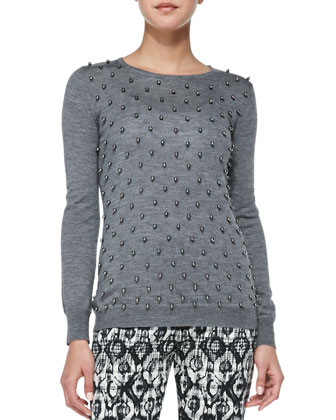 Faux Pearl-Embroidered Top, Charcoal
