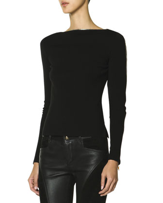Long-Sleeve Zipper-Trim Neckline & Sleeve Top, Black