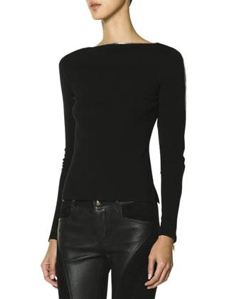 Belted Fur-Trimmed Hood Quilted Coat, Zip-Trim Top & Leather Panel Zip ...