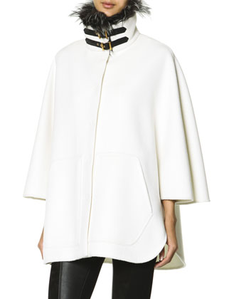 Double Buckle Fur-Trimmed Collar Coat, White