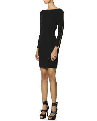 Long-Sleeve Zipper-Trim Sheath Dress, Nero (Black)