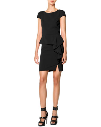 Cap-Sleeve Side-Cascade Ruffle Sheath Dress, Nero (Black)