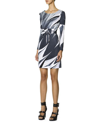 Long-Sleeve Printed T-Shirt Dress, Black/White