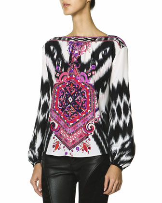 Long-Sleeve Mosaic-Print Silk Top, Multicolor