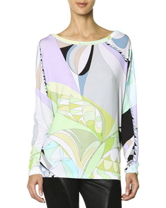 Long-Sleeve Boat-Neck Printed T-Shirt, Multicolor