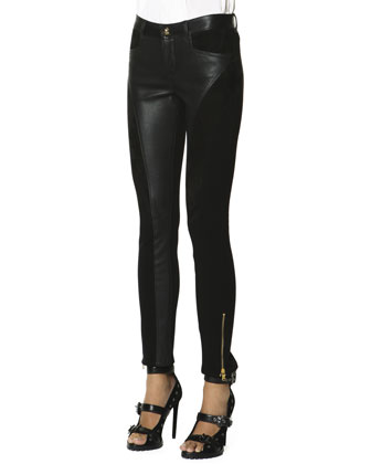 Leather Panel Zip Ankle Leggings, Nero (Black)