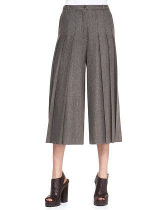 Textured Wool-Blend Sweater & Pleated Cropped Wide-Leg Pants