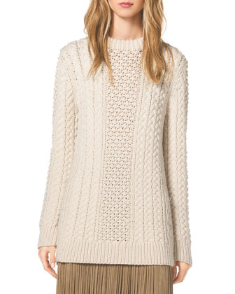 Mixed-Knit Wool Sweater