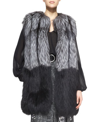 Ombre Fox Fur Vest, Crepe Peasant Blouse & Rose-Applique Wool Skirt