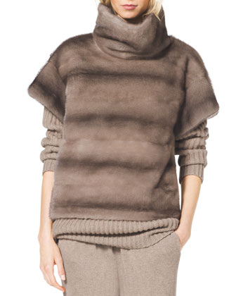 Turtleneck Mink Fur Pullover, Chunky Ribbed Cashmere Turtleneck & ...