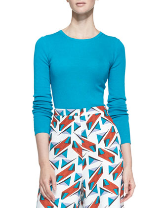 Long-Sleeve Crewneck Sweater & Wide-Leg Abstract-Print Pants