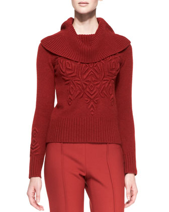 Long-Sleeve Turtleneck Sweater with Embroidery, Brick Red