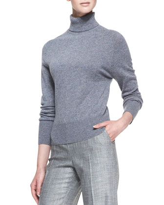 Long-Sleeve Melange Turtleneck Sweater, Greige