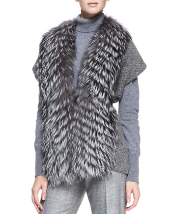 Fox Fur Trim Sweater, Gray