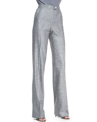 Stretch Wool Straight-Leg Pants, Gray
