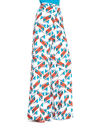Wide-Leg Abstract-Print Pants, Turquoise/Multi