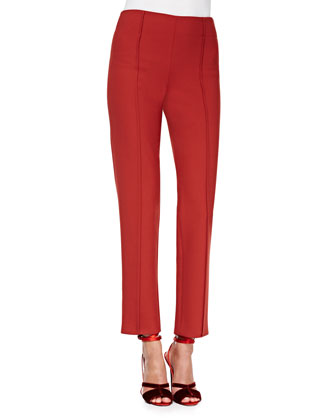 Cropped Stretch Wool Straight-Leg Pants, Brick Red