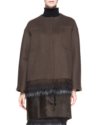 Cashmere Coat with Fringe Silk and Lamb Fur Hem, Maroon