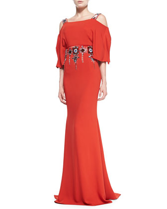 Cold-Shoulder Jeweled Gown, Lava Red