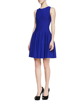 Sleeveless Dropped-Waist Dress, Royal Blue