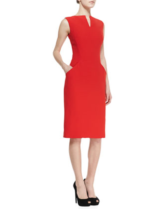 Split-V-Neck Dress with Short Sleeves, Red