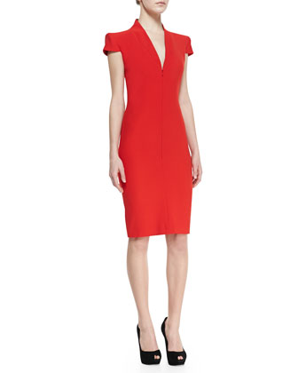 Cap-Sleeve Deep V-Neck Dress, Red