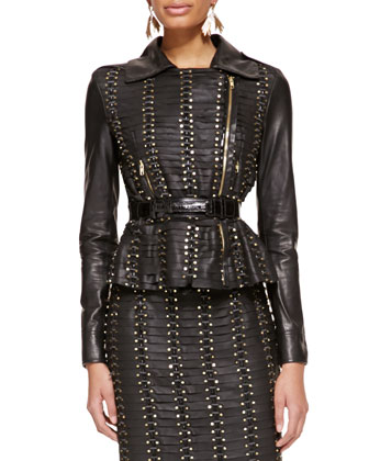 Studded Leather Jacket and Alligator & Leather Belt