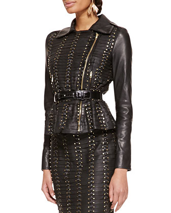 Long-Sleeve Studded Leather Jacket, Black