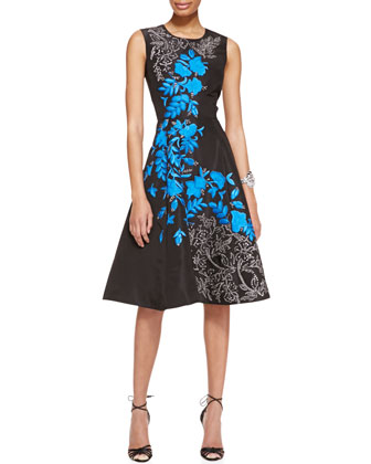 Sleeveless Floral-Embroidered Silk Cocktail Dress, Black/Blue
