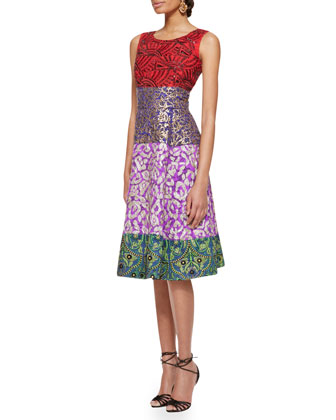 Multi-Print Cocktail Dress, Multicolor