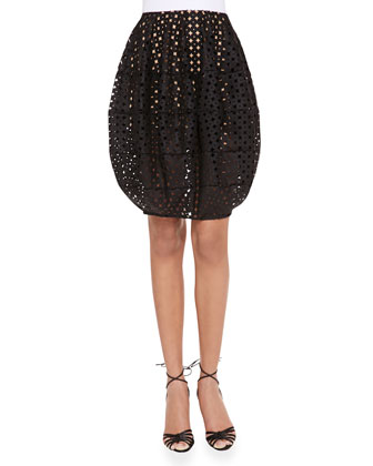Cutout Bubble Skirt, Black