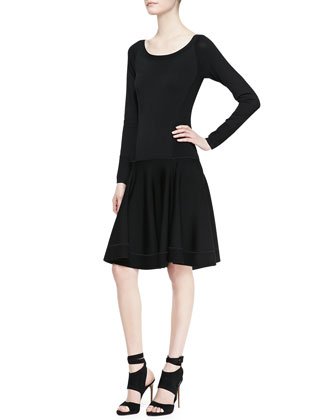 Long-Sleeve Fit-and-Flare Dress with Dropped Waist, Black