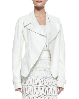 Topstitched Lambskin Trench Jacket, Long-Sleeve V-Neck Blouse & Eyelet ...