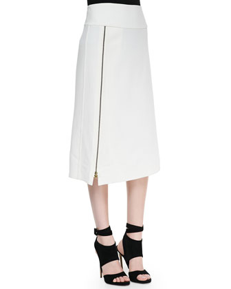 Mid-Calf Hip-Slung Midi Skirt with Zip