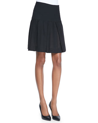 Pleated Skirt with Yoke, Black