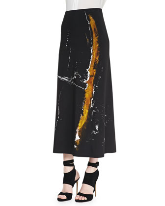 Painterly Printed Midi Pull-On Skirt