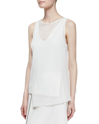 Sleeveless V-Neck Top with Sheer Layer