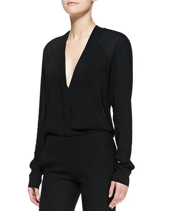Long-Sleeve V-Neck Blouse & Cropped Pants