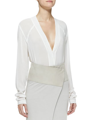 Long-Sleeve V-Neck Blouse, White