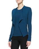Long-Sleeve Drape-Front Jacket, Teal